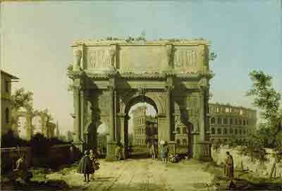 The Arch of Constantine with the Colosseum in the Background